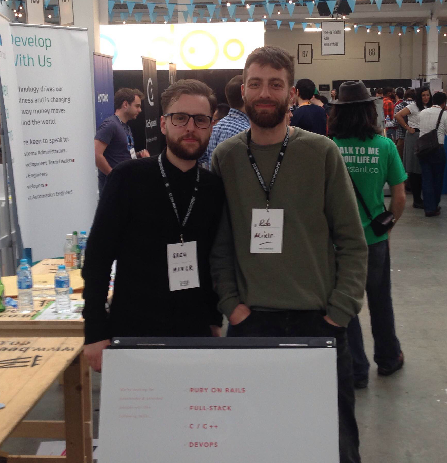 Mixlr's founders Greg and Rob at a previous Silicon Milkroundabout